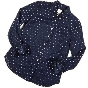 Gap Shrunken Boyfriend Star Print Button Up Blouse